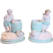 French Porcelain Pair Figural Smoke Set Boy Girl Figurines c 1850