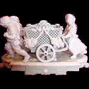 English Minton Huge Figural Group Wheeled Basket Celadon & White Glaze Early Pate-Sur-Pate 18