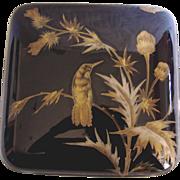 English Worcester 18th Century Large Porcelain Tea Box Caddy Cobalt Gold Bird Butterflies c 1792
