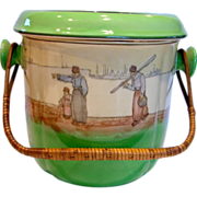 English Royal Doulton Huge Commode or Chamber Pot  or Slop Pail Green w Scene & Wicker ...