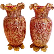 """English Pair 10"""" Art Glass Vases Cranberry or Pale Ruby w Streaks of Gold, Amber & Yellow c 1890"""