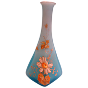 """English 6"""" Slender Cased Blue Art Glass Vase Hand Enameled Flowers c 1890"""