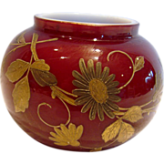 English Webb Small Art Glass Vase Cased Red w Gold Hand Enameled Flowers & Dragonfly c 1890