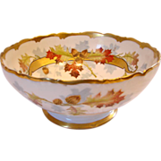 French Limoges Centerpiece or Serving Salad Bowl Hand Painted by Chicago Studio Artist Edith .