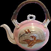 English Large Teapot Hand Painted Ducks Birds Pink Ground Wood Handle c 1850 - 1870