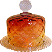 American Amberina Covered Glass Cheese Dish w Underplate c 1900