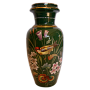 """Bohemian Large Green Glass Vase 13 ½"""" w Hand Painted Bird & Flowers c 1890"""