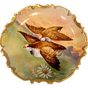 French Limoges Hand Painted Plaque Charger Predator Hawks Birds in Flight Signed Duval c 1906 - 1920