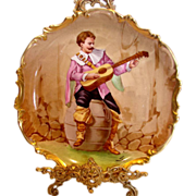 French Limoges Troubadour Guitar Plate Hand Painted Artist Signed Leo c 1906 - 1920