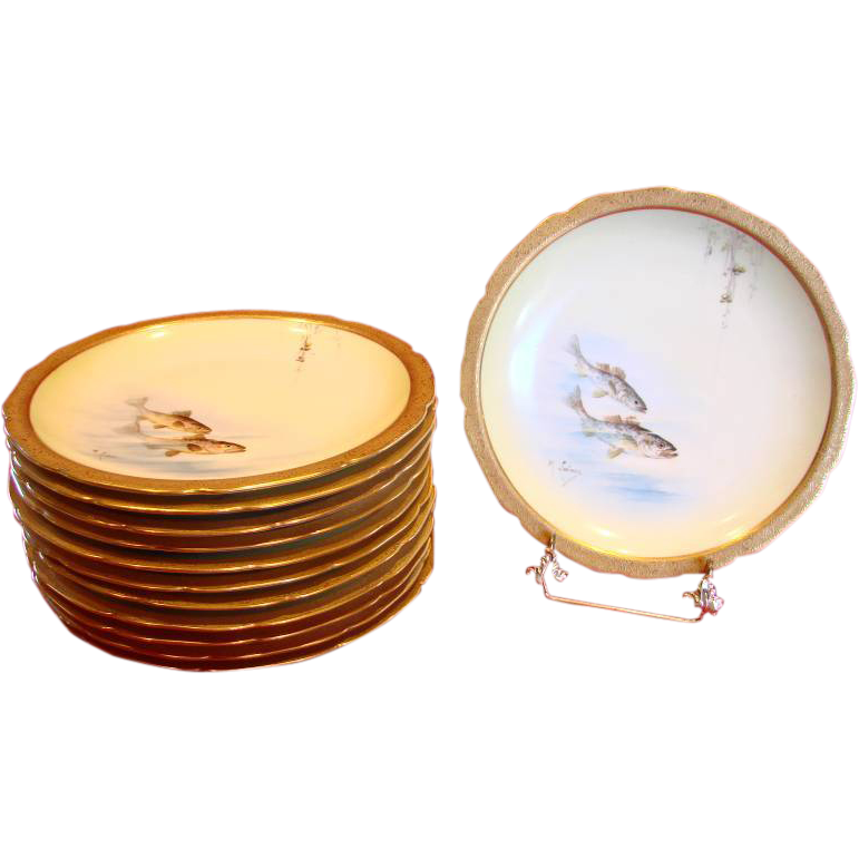 French Limoges Set of 12 Fish Plates Hand Painted Artist Signed c 1891 - 1905