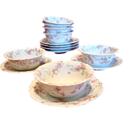 French Limoges Haviland Set of 7 Ramekins & Under Plates Pink Flowers Blue Ribbons Schleiger .