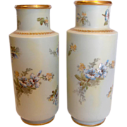 "French Limoges Pair 11"" Vases Hand Painted Blue & Yellow Flowers c 1892 - 1907"