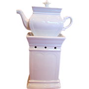 French All White Veilleuse Demitasse Teapot On Warming Stand c 1850