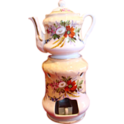 French Veilleuse Demitasse Teapot On Warming Stand Hand Painted Flowers c 1870