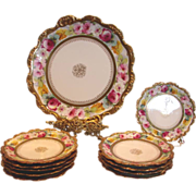 French Limoges 11-Piece Dessert Set Studio Decorated Hand Painted ROSES Artist Signed c 1891 .