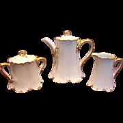 French Haviland Limoges Demitasse Tea Set Ranson White & Gold c 1905 - 1930