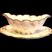 French Haviland Limoges Open Sauce Boat Pink Flowers Blue Scrolls Schleiger Pattern Princess 57G c 1893 - 1930