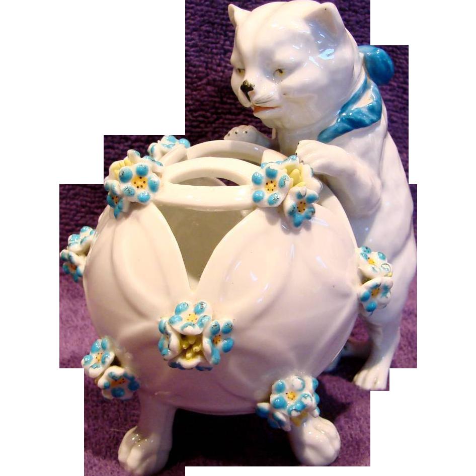 French Paris Samson Cat Figurine Holder w Applied Flowers c 1890