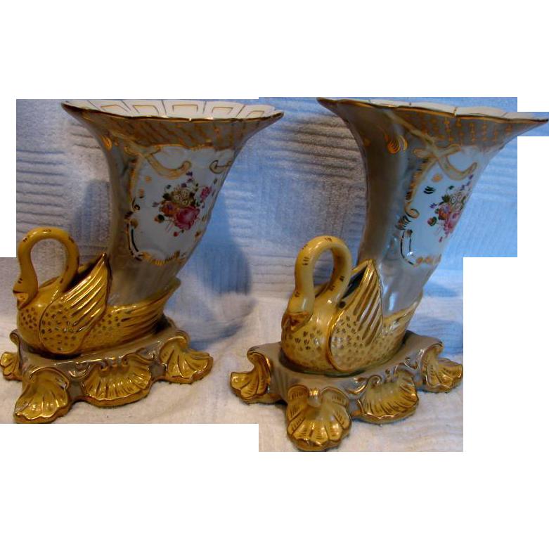 German Pair of Cornucopia Horn Vases w Figural Swan Birds Hand Painted Flowers c 1890