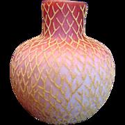 "English 7 ¾"" Art Glass Vase Satin Ruby Shading to Pink Over White Diamond Air ..."