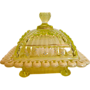 American Northwood EAPG Covered Butter Opalescent Vaseline Canary Glass w Enameled Decoration