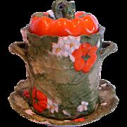 German Bohemian Ernst Wahliss Tomato Majolica Condensed Milk Holder w Under Plate c 1900