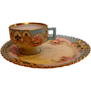 German Meissen Listed American Artist Ida Failing Tea Toast Pedestal Cup Saucer Pink Roses w .