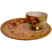 German Meissen Listed American Master Artist Franz Aulich Tea Toast Pedestal Cup Saucer Pink .