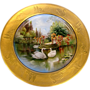 French Haviland Limoges Plate Pickard Artist Frederick Kriesche Exceptional Gold Painted Scene