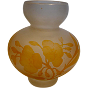 French Cameo Art Glass Small Vase Dragonfly Flowers c 1890 - 1910