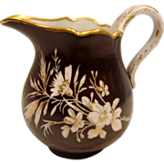 German Meissen Tiny Cream Pitcher Black Ground White Gold Flowers c 1814 - 1860