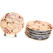 French Haviland Limoges Set 6 Oyster Plates w 6 Deep Wells Purple Poppies Flowers c ...