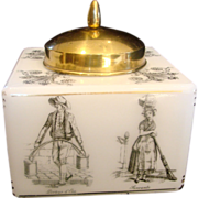 French White Art Glass Tobacco Humidor or Cookie Jar w Street Workers on Sides & Brass ...