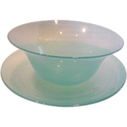 English Signed Stevens & Williams Blue Glass Finger Bowl w Under Plate c 1902 - 1930