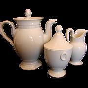 French Limoges Whiteware Tea or Coffee Set Pot Sugar Cream Pitcher c 1891 - 1900