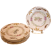 French Limoges Set of 6 Fish Plates c 1892 - 1907