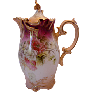 German R.S. Prussia Chocolate Pot Pink Ground Flowers c 1890