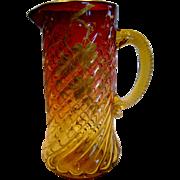 "English Amberina Art Glass Pitcher 9 3/8"" Pale Amber to Deep Cranberry Ruby Red ..."