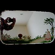 Scottish Beveled Wall Mirror Hand Painted Garden Scene w Birds c 1900