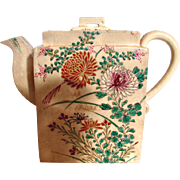 Japanese Satsuma Small Rectangle Teapot Flowers Insects Meiji Period Signed c 1871