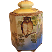 Japanese Nippon Hand Painted Footed Hexagon Humidor Jar w Owl c 1910