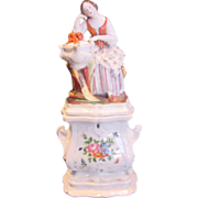 French Jacob Petit Figural Lady Veilleuse Demitasse Teapot on Warming Stand c 1834 to 1850