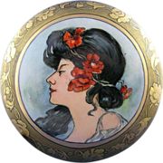 SALE O&EG Austria Art Nouveau Mucha Portrait Motif Covered Dish/Dresser Jar (c.1899 ...