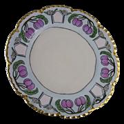 """SALE Haviland Limoges Plum Motif Arts & Crafts Plate (Signed """"I. Lang""""/c.1893-1930)"""
