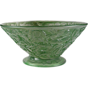 Consolidated Glass Large Martele Green Wash Floral Motif Bowl (c.1920's)