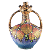 Czechoslovakia Amphora Arts & Crafts Berry Motif Handled Vase (c.1918-1936)