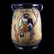 SALE Amphora Austria Campina Parrots Motif Arts & Crafts Vase (c.1905-1910)