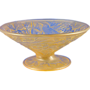 Consolidated Glass Amber Wash Hummingbird Motif Compote (c.1920's)