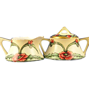 SALE Zeh, Scherzer & Co. (ZS&Co) Bavaria Arts & Crafts Poppy Motif Creamer & Sugar Set (c.1880