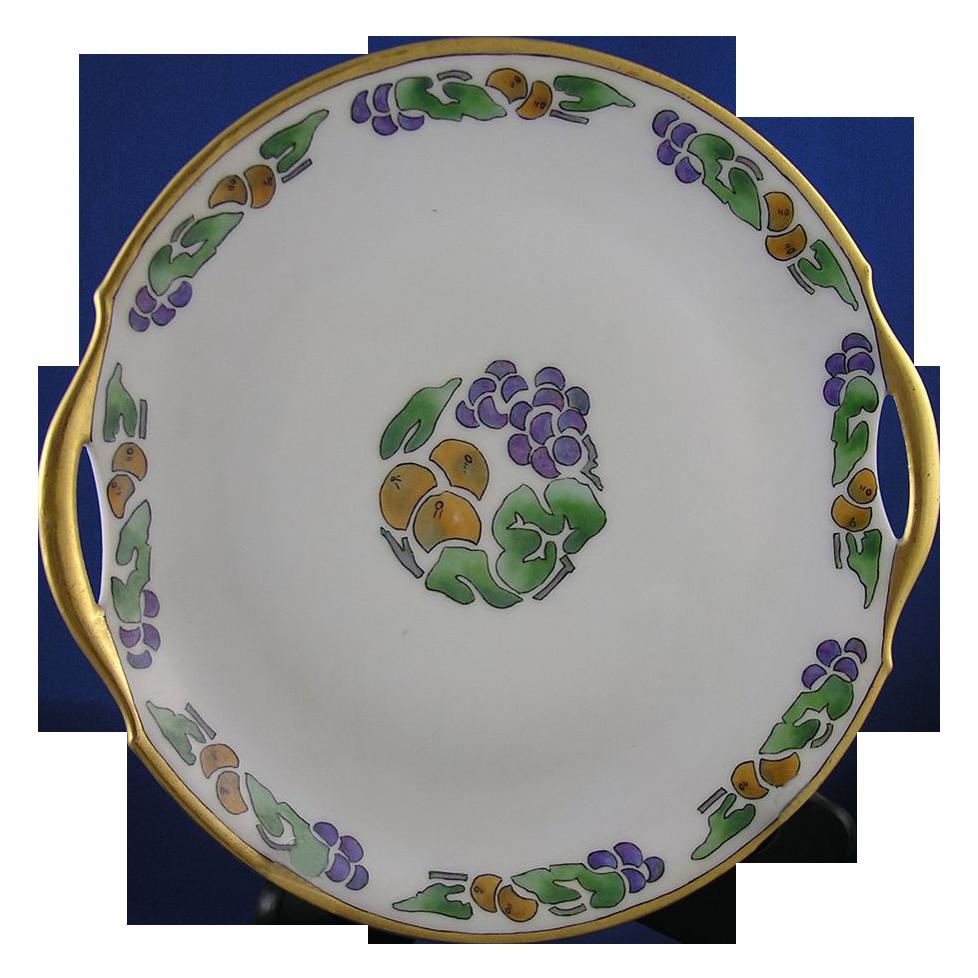 """Bavaria Arts & Crafts Fruit Motif Handled Serving Plate (Signed """"D. Burrowes""""/c.1920-1935)"""